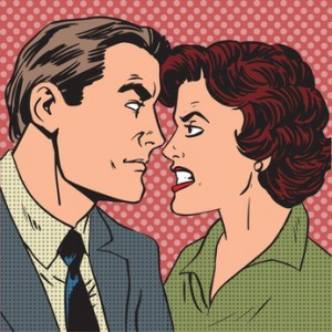 Conflict man woman family quarrel love hate pop art comics retro style Halftone. Imitation of old illustrations.