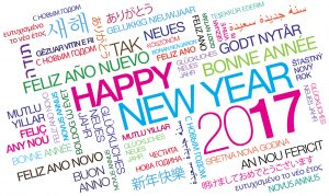 Happy New Year 2017 worldwide celebration multicolor international wishes traduction colorful words tag cloud text